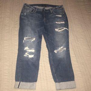 Silver Distressed Boyfriend Jeans